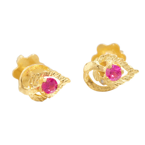 Second Hand 18ct Gold Ruby Leaf Stud Earrings