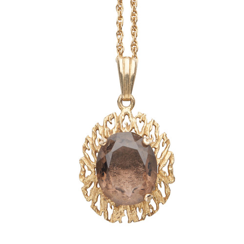 Second Hand 9ct Gold Smoky Quartz Bark Effect Pendant with Chain