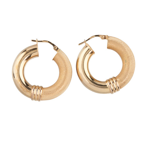 Second Hand 9ct Gold Semi-Textured Hoop Earrings