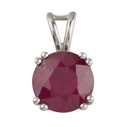 Second Hand 9ct White Gold Ruby Solitaire Pendant