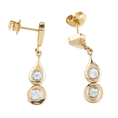 Second Hand 14ct Gold Cubic Zirconia Drop Earrings