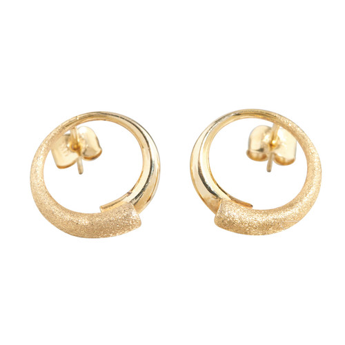 Second Hand 14ct Gold Semi-Textured Circular Stud Earrings