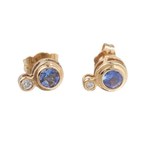 Second Hand 14ct Gold Tanzanite & Diamond Stud Earrings