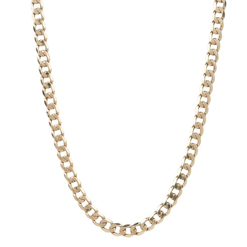 "Second Hand 9ct Gold 30"" Flat Curb Chain Necklace"