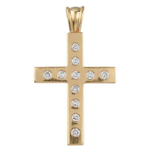 Second Hand 18ct Gold Diamond Set Cross Pendant