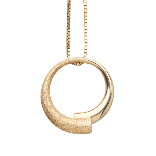 Second Hand 14ct Gold Semi-Textured Circular Pendant & Chain