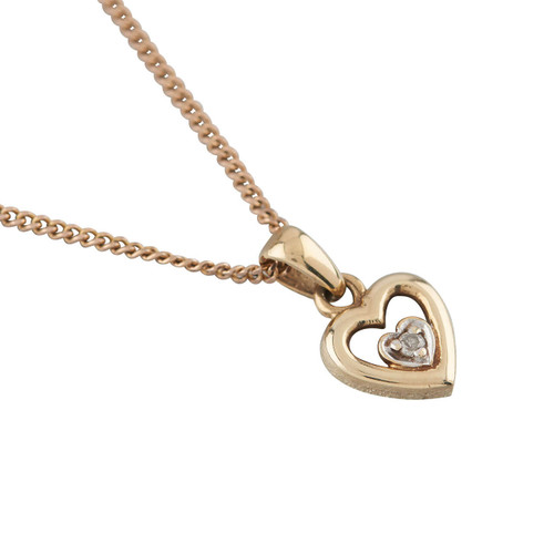 Second Hand 9ct Gold Diamond Heart Pendant and Chain