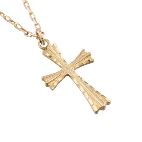 Second Hand 9ct Gold Cross Pendant and Cable Chain