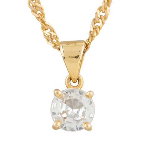 Second Hand Cubic Zirconia Single Stone Pendant and 18ct Gold Twisted Curb Chain