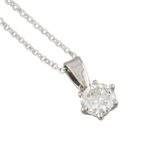 Second Hand 18ct White Gold 0.60 Carat Single Stone Diamond Pendant and Chain