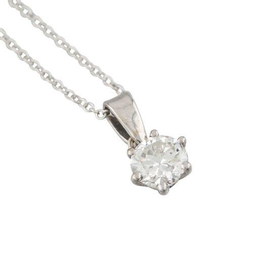 Second Hand 18ct White Gold 0.60 Carat Single Stone Diamond Pendant and Chain
