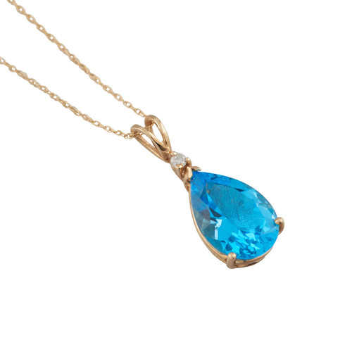 Second Hand 14ct Gold Pear Cut Blue Topaz and Diamond Pendant and Chain