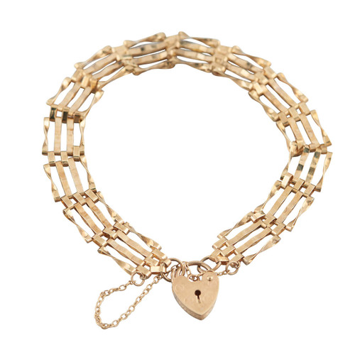 "Second Hand 9ct Gold 7"" 4 Bar Gate Bracelet"