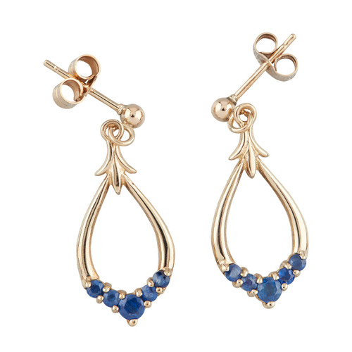 Second Hand 9ct Gold Pear Shaped Drop Sapphire Earrings