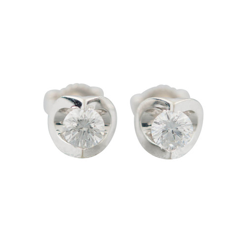 Second Hand 18ct White Gold 0.50 Carat Diamond Stud Earrings