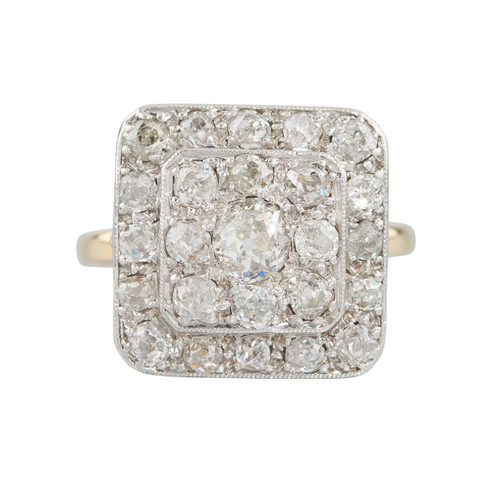 Vintage Art Deco 18ct Gold Old Cut Diamond Panel Cluster Ring