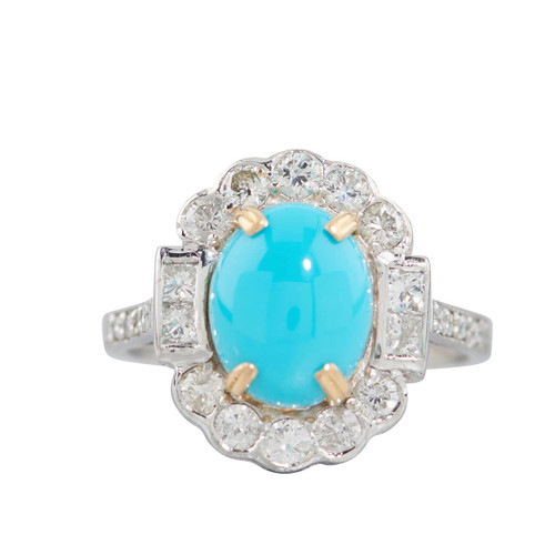Second Hand 18ct Gold Turquoise and Diamond Cluster Ring