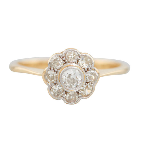 Vintage 18ct Gold 9 Stone Diamond Daisy Cluster Ring