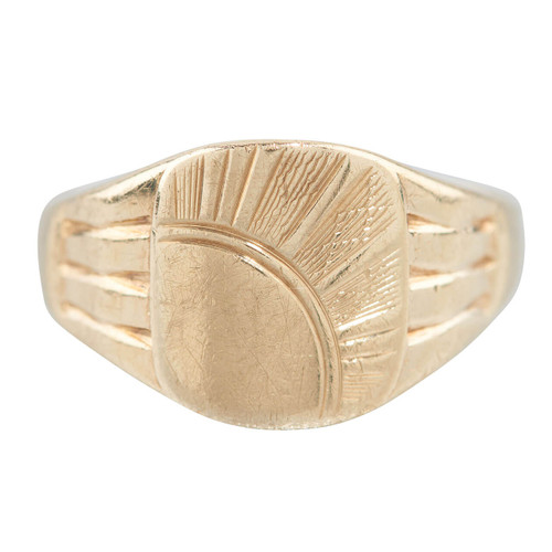 Vintage 9ct Gold Sun Engraved Signet Ring