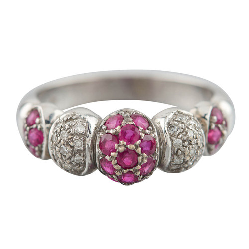 Second Hand 18ct White Gold Ruby & Diamond 5 Piece Bombe Ring