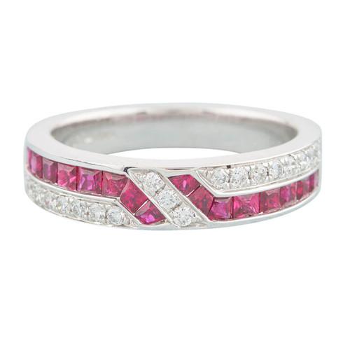 18ct White Gold Ruby & Diamond Geometric Eternity Ring