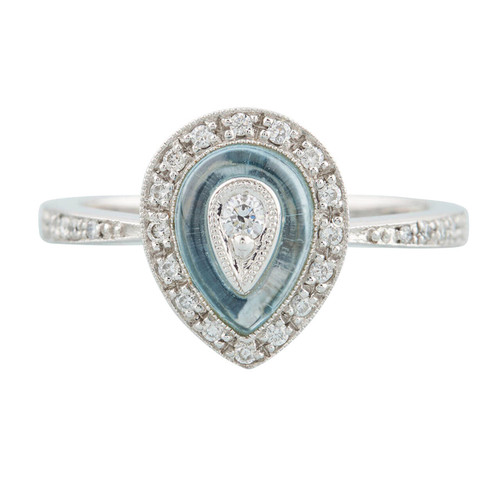 18ct White Gold Cabochon Topaz and Diamond Pear Shaped Ring