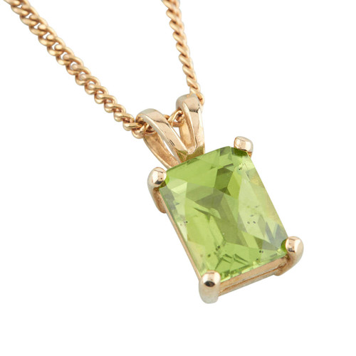 9ct Gold Rectangle Peridot Pendant and Chain