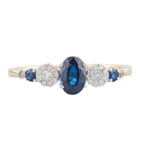 18ct Gold Oval Sapphire & Diamond Dress Ring