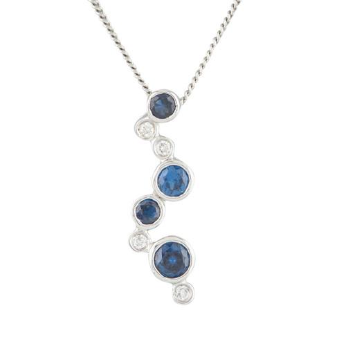 NEW 9ct White Gold Sapphire & Diamond Journey Pendant & Chain