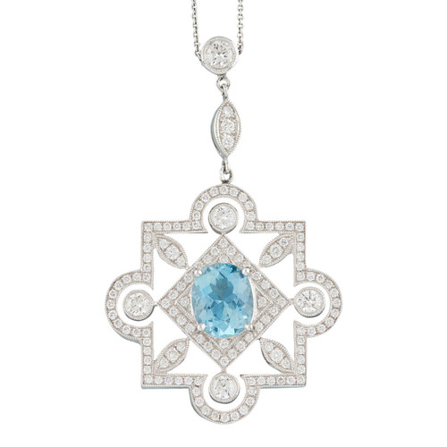 NEW 18ct Gold Aquamarine and Diamond Art Deco Style Pendant and Chain