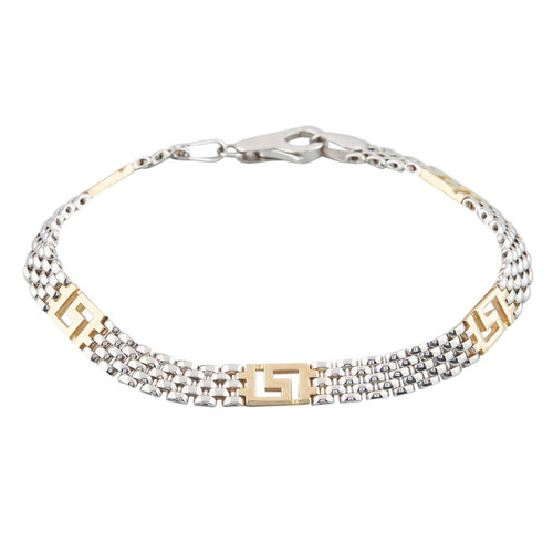 NEW 9ct Gold 2 Colour Greek Meander and Panther Bracelet