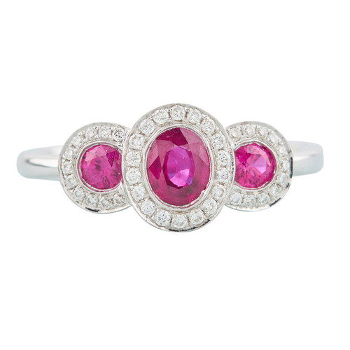 NEW 18ct White Gold Ruby and Diamond Triple Cluster Ring