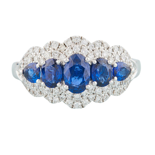 18ct White Gold Sapphire and Diamond Wide Cluster Ring