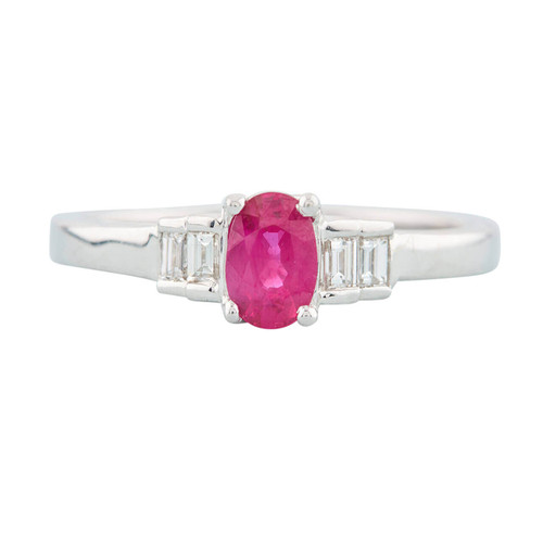 NEW 18ct White Gold Oval Ruby Ring with Baguette Diamond Accents