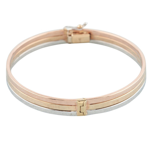 NEW 9ct 3 Colour Gold Triple Strip Hinged Bangle