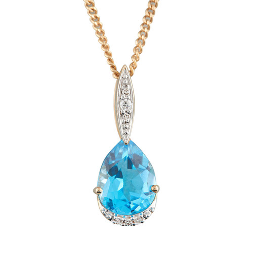 NEW 9ct Gold Pear Cut Blue Topaz and Diamond Pendant and Chain