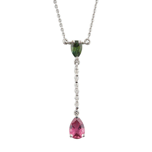 NEW 9ct White Gold Tourmaline and Diamond Drop Pendant and Chain
