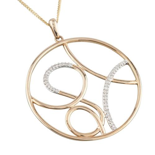 NEW 9ct Gold Large Round Diamond Pendant