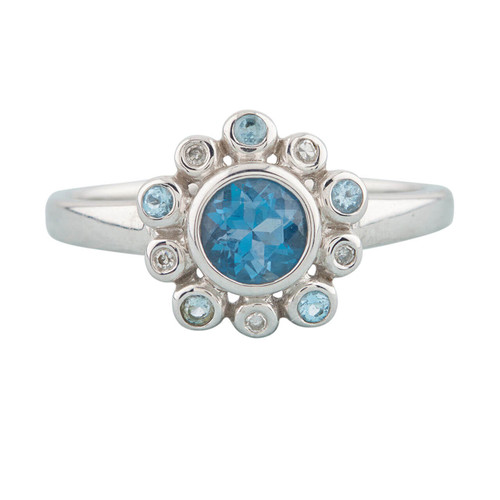 NEW 9ct White Gold Blue Topaz and Diamond Cluster Ring
