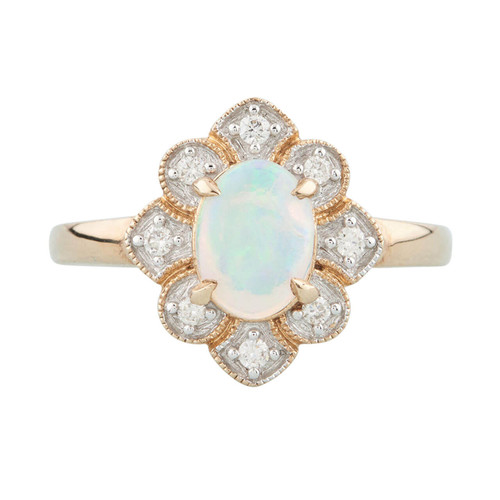 NEW 9ct Gold Opal and Diamond Cluster Ring