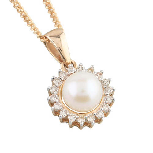 NEW 9ct Gold Cultured Pearl and Diamond Halo Pendant