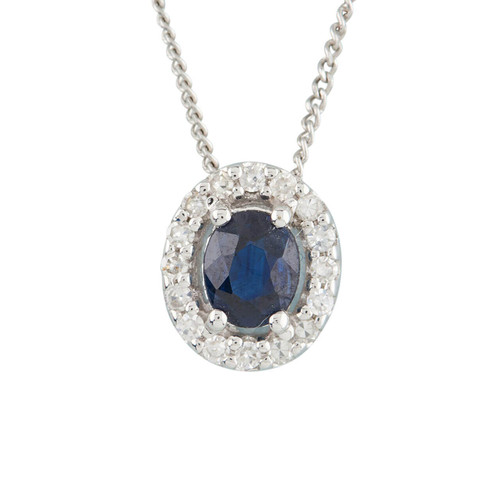 NEW 9ct White Gold Sapphire and Diamond Cluster Pendant