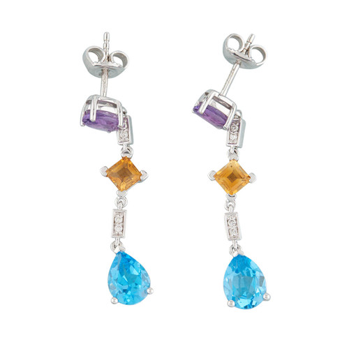 NEW 18ct White Gold Amethyst, Citrine, Blue Topaz and Diamond Drop Earrings