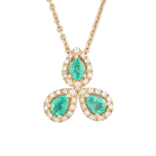 NEW 9ct Gold Emerald and Diamond Triple Cluster Pendant and Chain