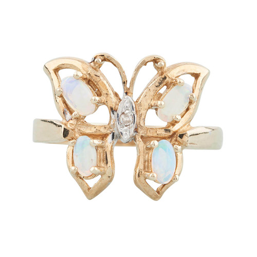NEW 9ct Gold Opal and Diamond Butterfly Ring