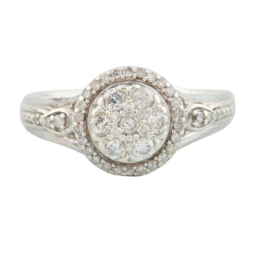 Second Hand 9ct White Gold 0.50 Carat Diamond Halo Cluster Ring