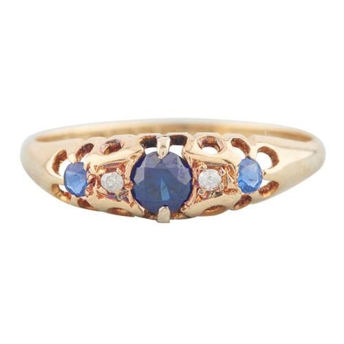 Antique 18ct Gold Sapphire & Diamond 5 Stone Half Hoop Ring