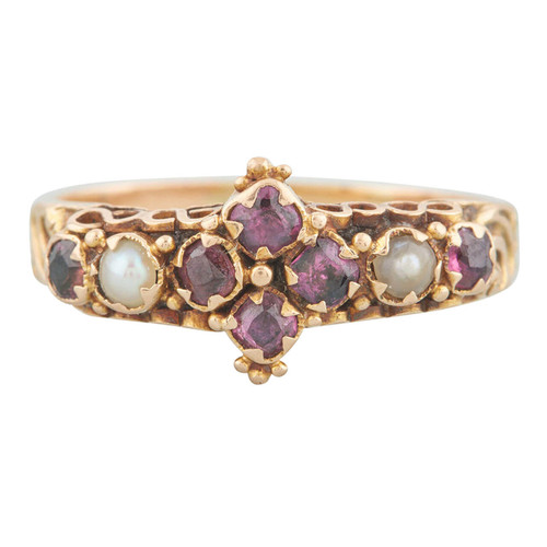 Antique Victorian Amethyst and Pearl Dress Ring