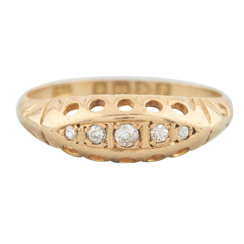 Antique 18ct Gold 5 Stone Diamond Half Hoop Ring