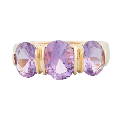 Second Hand 14ct Gold 3 Stone Amethyst Ring